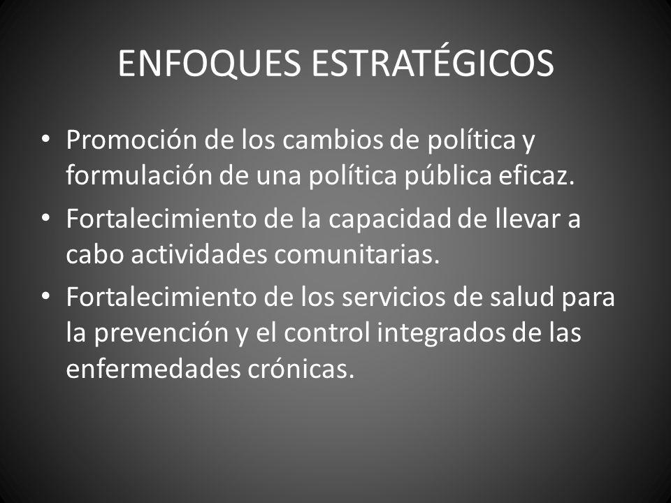 ENFOQUES ESTRATÉGICOS Promoción de los cambios de política y formulación de una política pública eficaz. Fortalecimiento de la capacidad de llevar a c