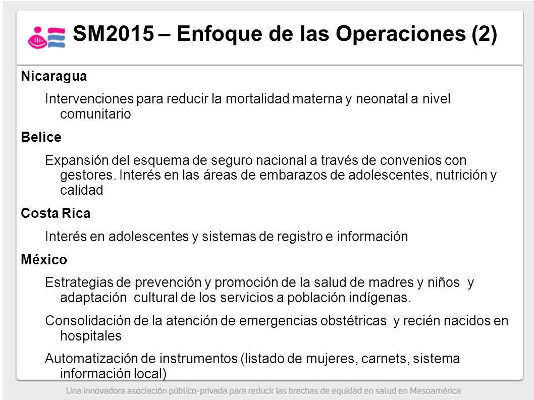 Nicaragua Intervenciones para reducir la mortalidad materna y neonatal a nivel comunitario Belice Expansión del esquema de seguro nacional a través de convenios con gestores.