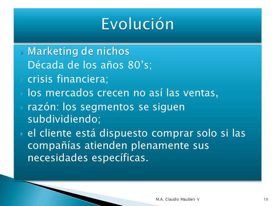 Marketing de nichos Marketing de nichos Década de los años 80s; crisis financiera; los mercados crecen no así las ventas, razón: los segmentos se siguen subdividiendo; el cliente está dispuesto comprar solo si las compañías atienden plenamente sus necesidades específicas.