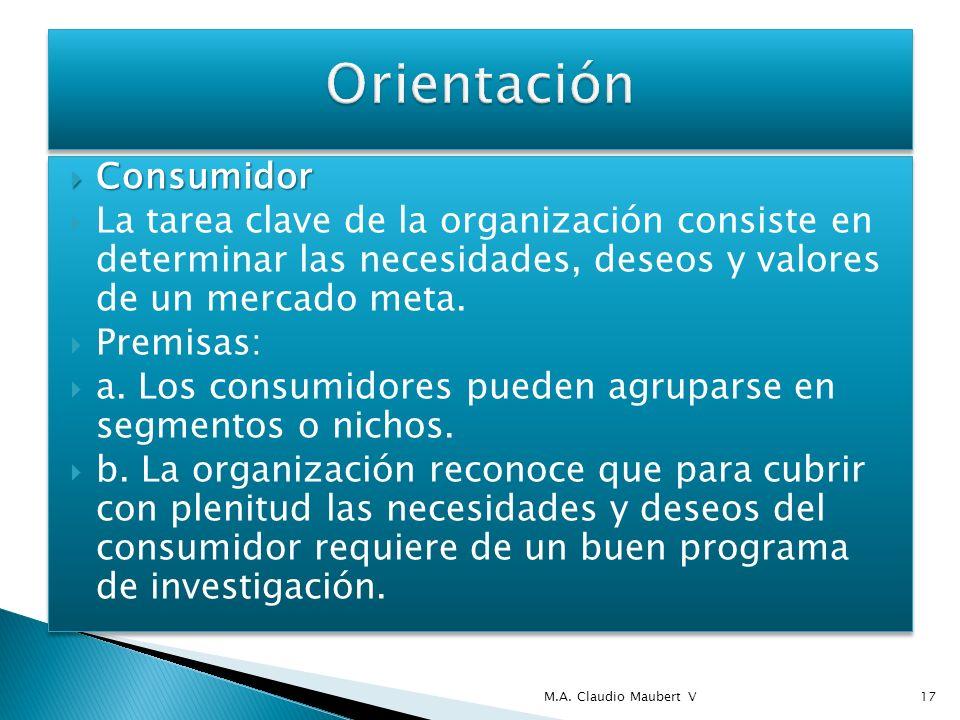 Consumidor Consumidor La tarea clave de la organización consiste en determinar las necesidades, deseos y valores de un mercado meta. Premisas: a. Los