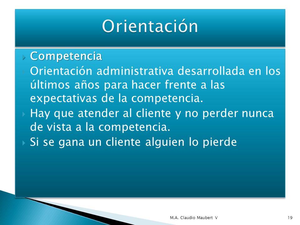 Competencia Competencia Orientación administrativa desarrollada en los últimos años para hacer frente a las expectativas de la competencia. Hay que at
