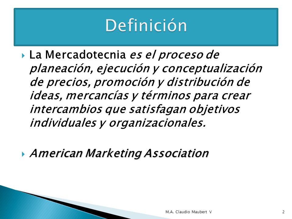 La Mercadotecnia es el proceso de planeación, ejecución y conceptualización de precios, promoción y distribución de ideas, mercancías y términos para crear intercambios que satisfagan objetivos individuales y organizacionales.