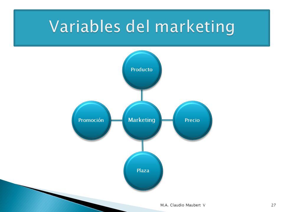 Marketing ProductoPrecioPlazaPromoción M.A. Claudio Maubert V27