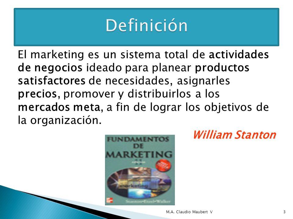 El marketing es un sistema total de actividades de negocios ideado para planear productos satisfactores de necesidades, asignarles precios, promover y distribuirlos a los mercados meta, a fin de lograr los objetivos de la organización.