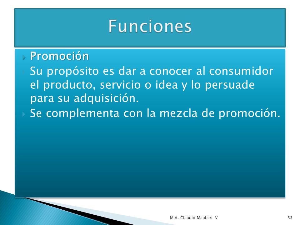 Promoción Promoción Su propósito es dar a conocer al consumidor el producto, servicio o idea y lo persuade para su adquisición. Se complementa con la