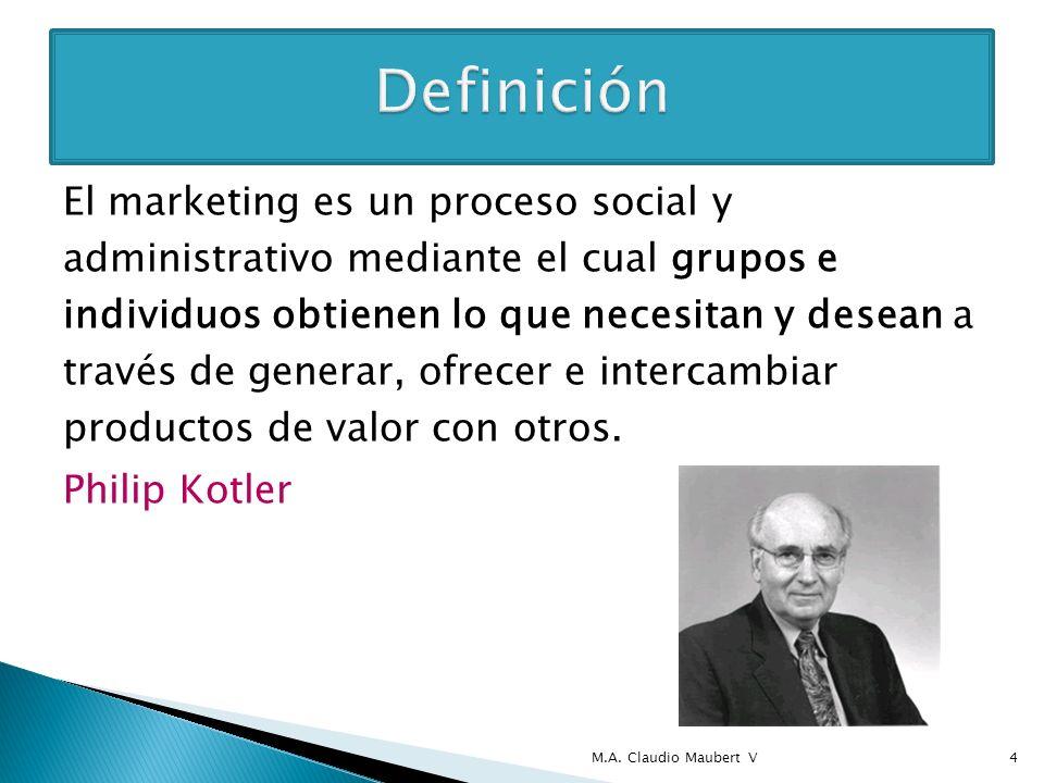 El marketing es un proceso social y administrativo mediante el cual grupos e individuos obtienen lo que necesitan y desean a través de generar, ofrece