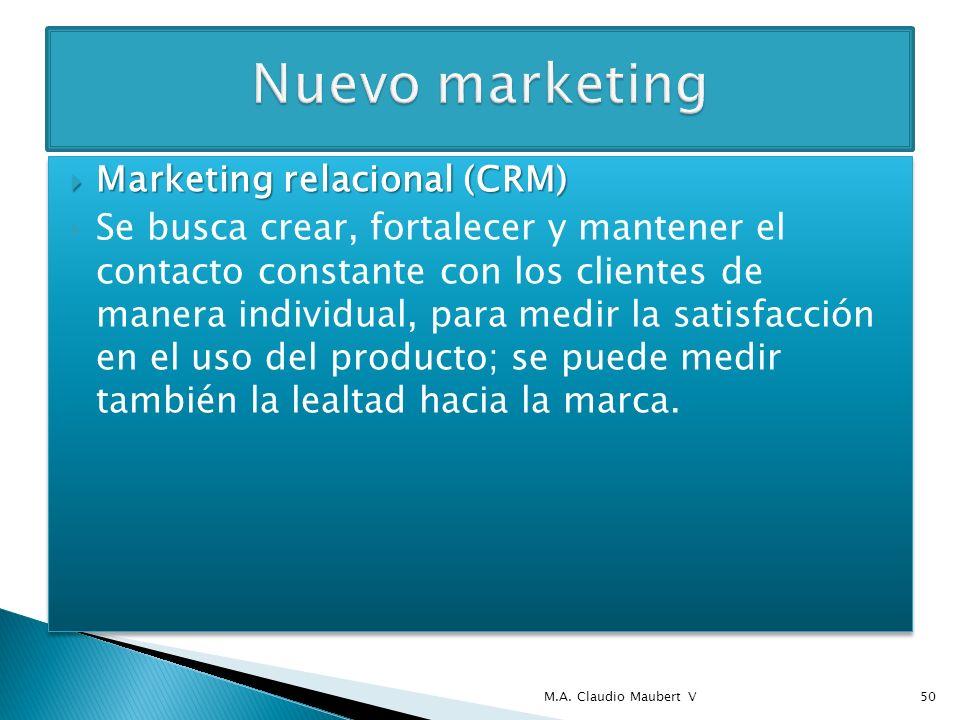Marketing relacional (CRM) Marketing relacional (CRM) Se busca crear, fortalecer y mantener el contacto constante con los clientes de manera individua
