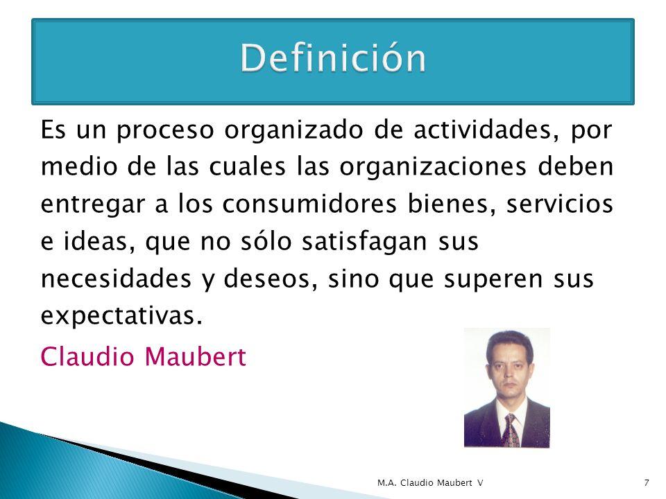Es un proceso organizado de actividades, por medio de las cuales las organizaciones deben entregar a los consumidores bienes, servicios e ideas, que n
