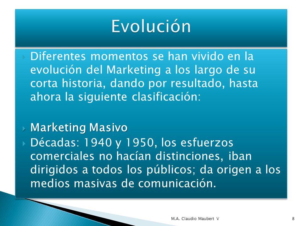 Diferentes momentos se han vivido en la evolución del Marketing a los largo de su corta historia, dando por resultado, hasta ahora la siguiente clasif