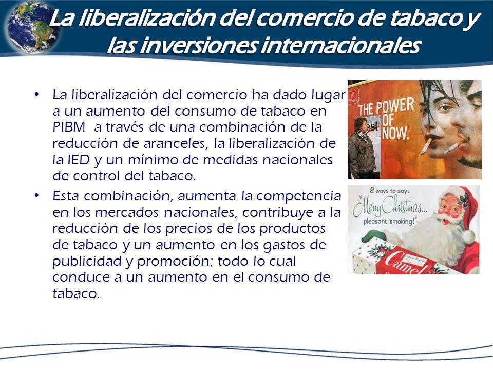 La liberalización del comercio ha dado lugar a un aumento del consumo de tabaco en PIBM a través de una combinación de la reducción de aranceles, la l