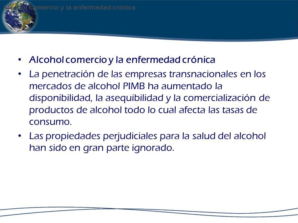Alcohol comercio y la enfermedad crónica La penetración de las empresas transnacionales en los mercados de alcohol PIMB ha aumentado la disponibilidad