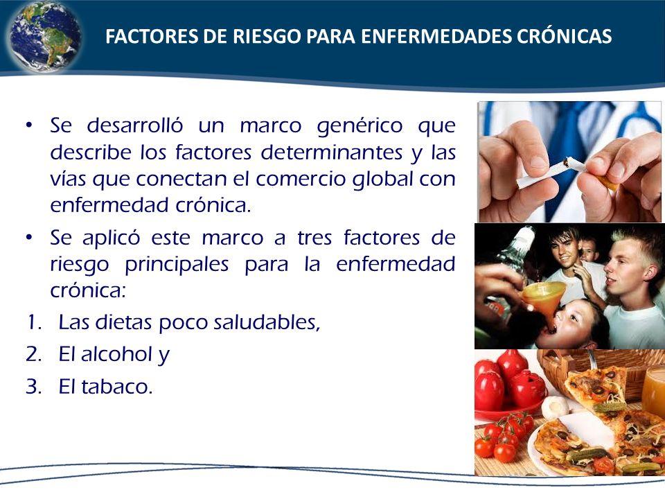 Se desarrolló un marco genérico que describe los factores determinantes y las vías que conectan el comercio global con enfermedad crónica. Se aplicó e