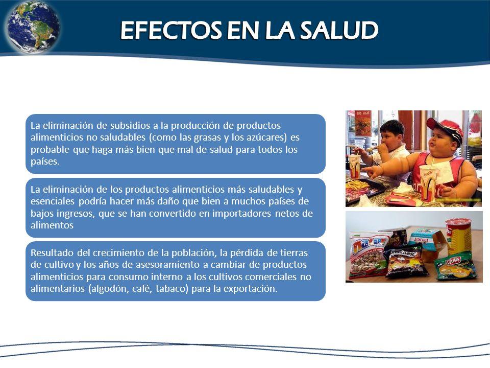 Hawkes y Thow demostrar estos efectos en su análisis de la región de América Central - República Dominicana - Tratado de Libre Comercio, sostienen que es probable que conduzca a un mayor consumo de alimentos altamente procesados, la carne y otros alimentos no tradicionales en Centroamérica.