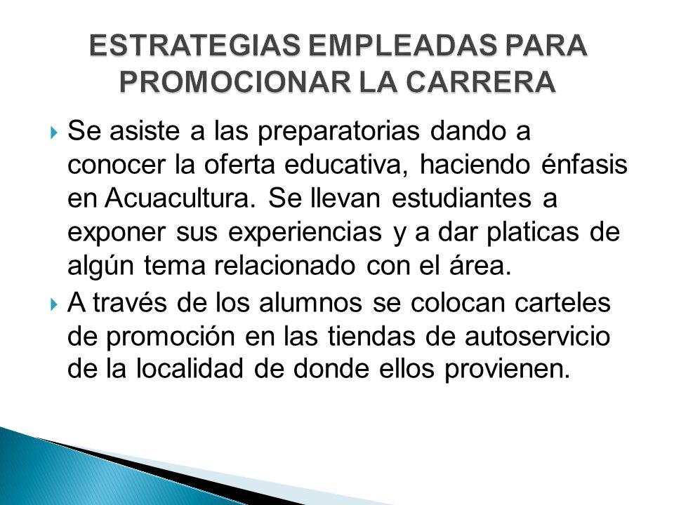 Se asiste a las preparatorias dando a conocer la oferta educativa, haciendo énfasis en Acuacultura.