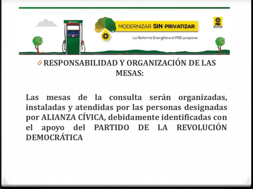 0 RESPONSABILIDAD Y ORGANIZACIÓN DE LAS MESAS: Las mesas de la consulta serán organizadas, instaladas y atendidas por las personas designadas por ALIA