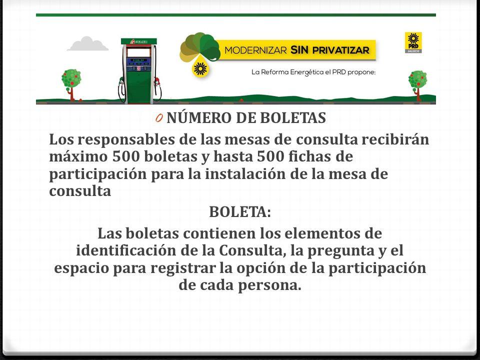 0 NÚMERO DE BOLETAS Los responsables de las mesas de consulta recibirán máximo 500 boletas y hasta 500 fichas de participación para la instalación de