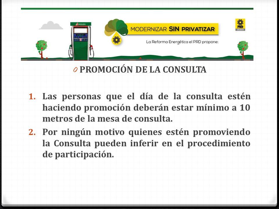 0 PROMOCIÓN DE LA CONSULTA 1. Las personas que el día de la consulta estén haciendo promoción deberán estar mínimo a 10 metros de la mesa de consulta.
