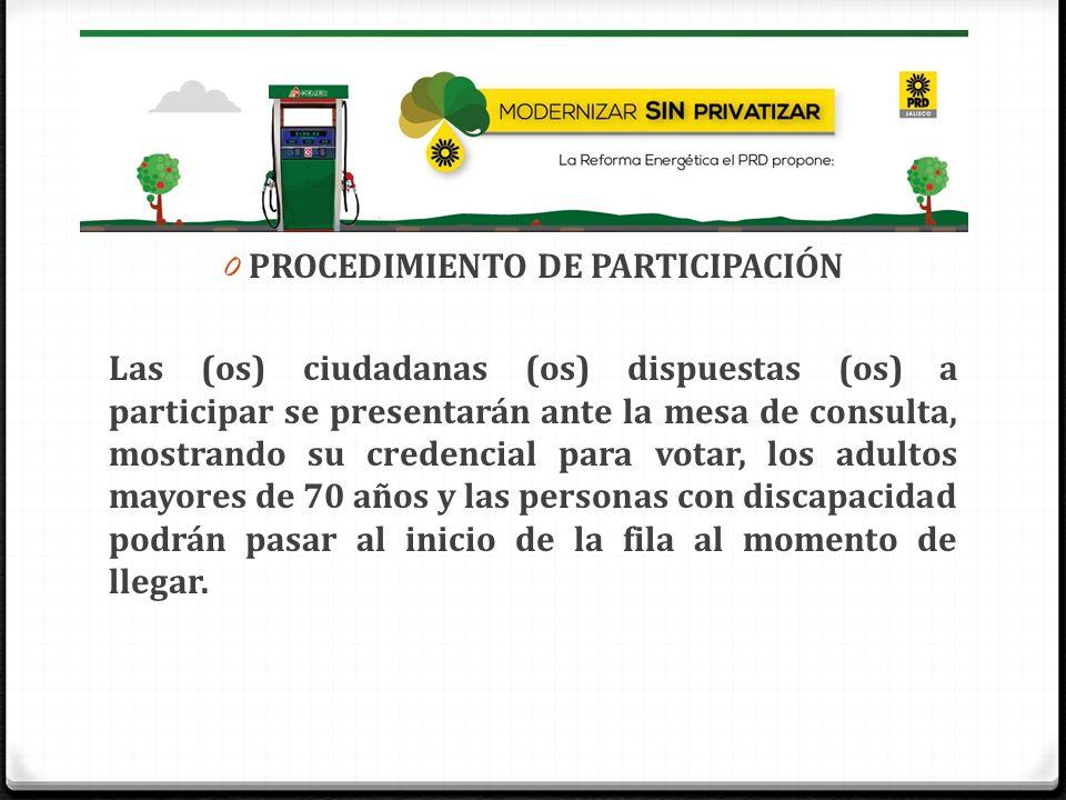 0 PROCEDIMIENTO DE PARTICIPACIÓN Las (os) ciudadanas (os) dispuestas (os) a participar se presentarán ante la mesa de consulta, mostrando su credencia