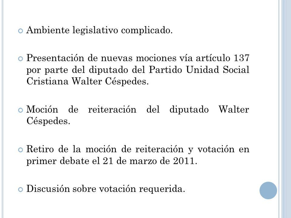 Ambiente legislativo complicado. Presentación de nuevas mociones vía artículo 137 por parte del diputado del Partido Unidad Social Cristiana Walter Cé