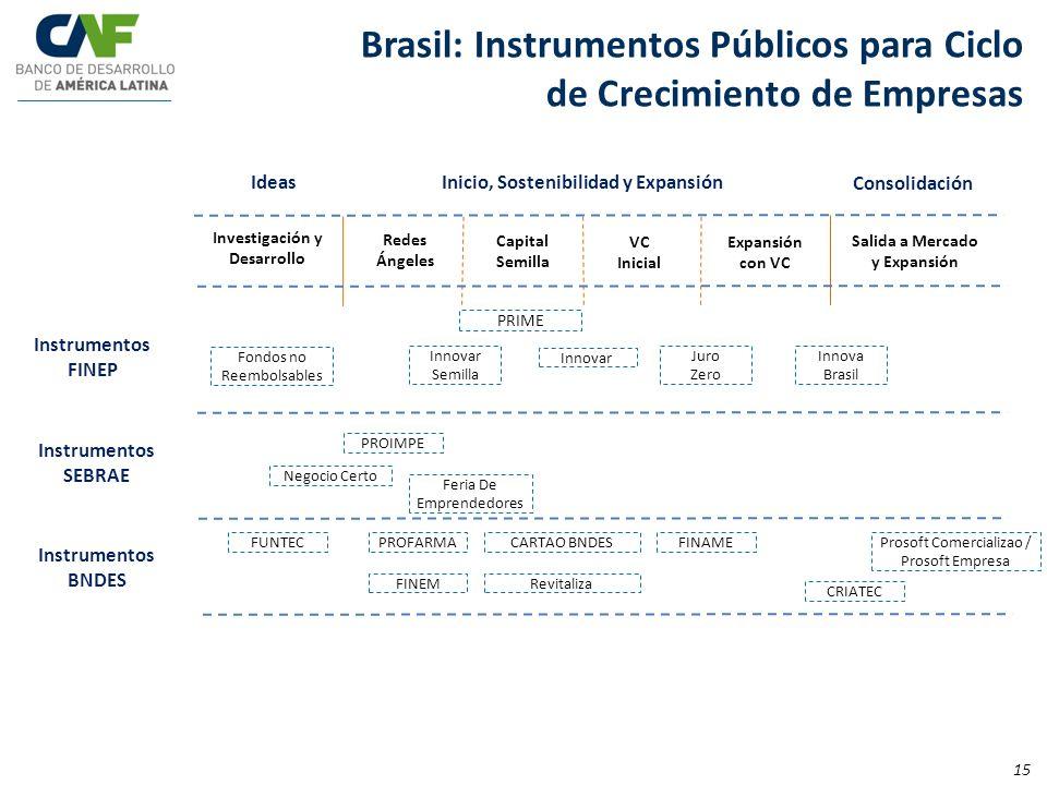 IdeasInicio, Sostenibilidad y Expansión Consolidación Expansión con VC Salida a Mercado y Expansión Brasil: Instrumentos Públicos para Ciclo de Crecim