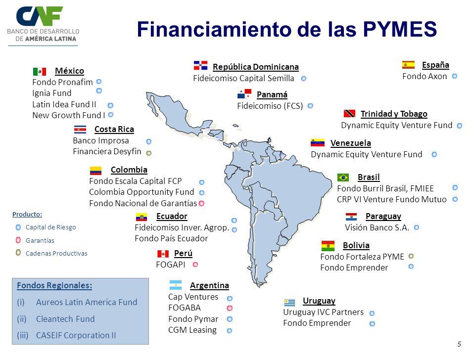 Paraguay Visión Banco S.A. Panamá Fideicomiso (FCS) Bolivia Fondo Fortaleza PYME Fondo Emprender Brasil Fondo Burril Brasil, FMIEE CRP VI Venture Fund