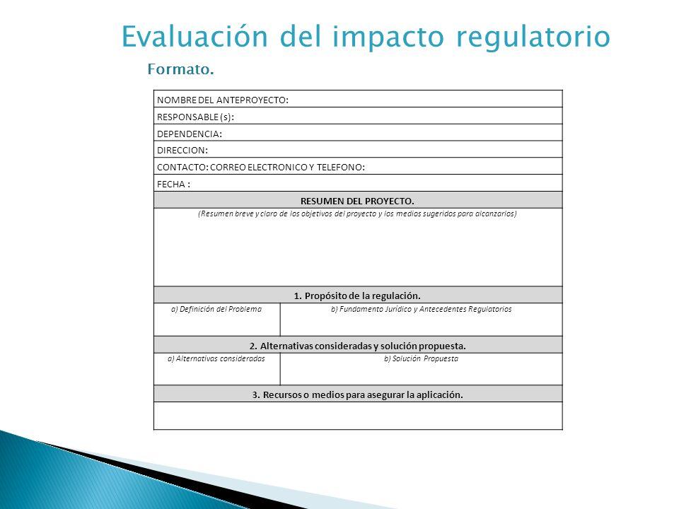 Evaluación del impacto regulatorio Formato.