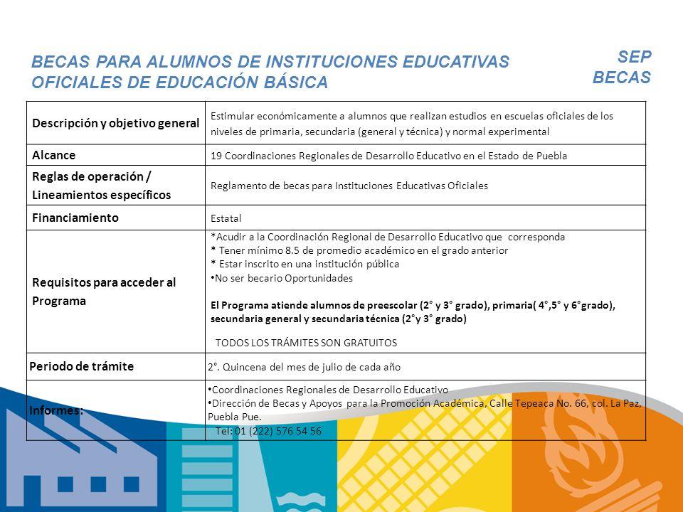Descripción y objetivo general Estimular económicamente a alumnos que realizan estudios en escuelas oficiales de los niveles de primaria, secundaria (