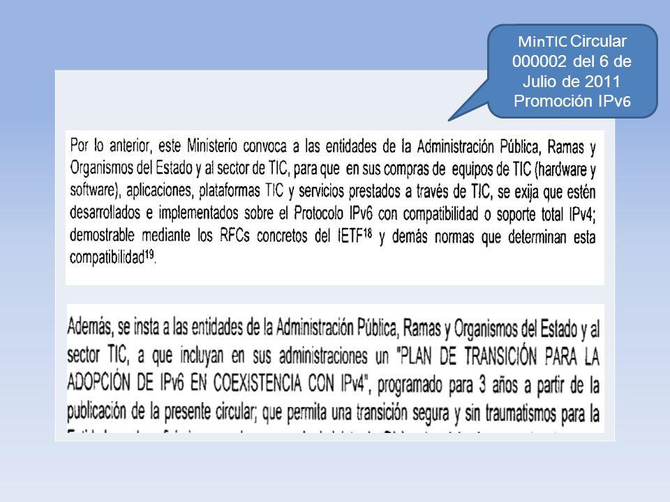 MinTIC Circular 000002 del 6 de Julio de 2011 Promoción IPv6