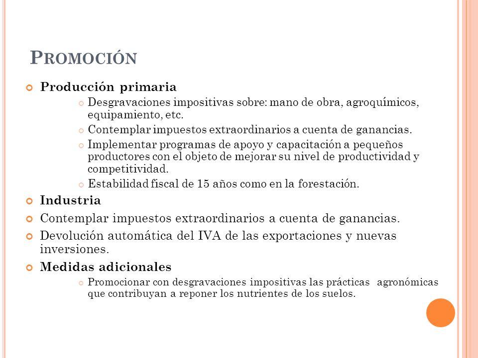 P ROMOCIÓN Producción primaria Desgravaciones impositivas sobre: mano de obra, agroquímicos, equipamiento, etc.