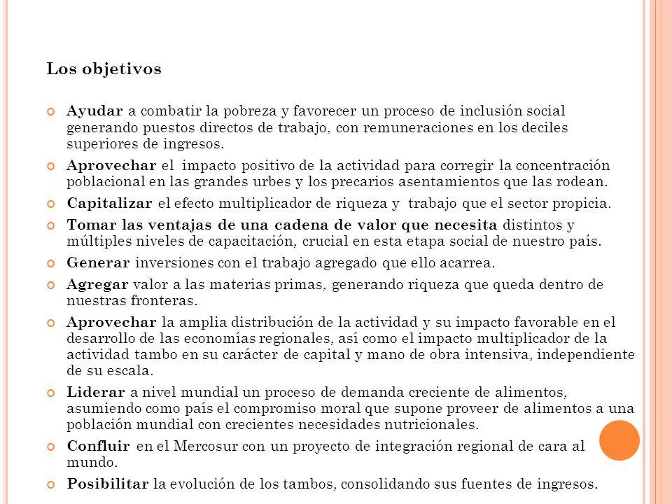 Los objetivos Ayudar a combatir la pobreza y favorecer un proceso de inclusión social generando puestos directos de trabajo, con remuneraciones en los deciles superiores de ingresos.