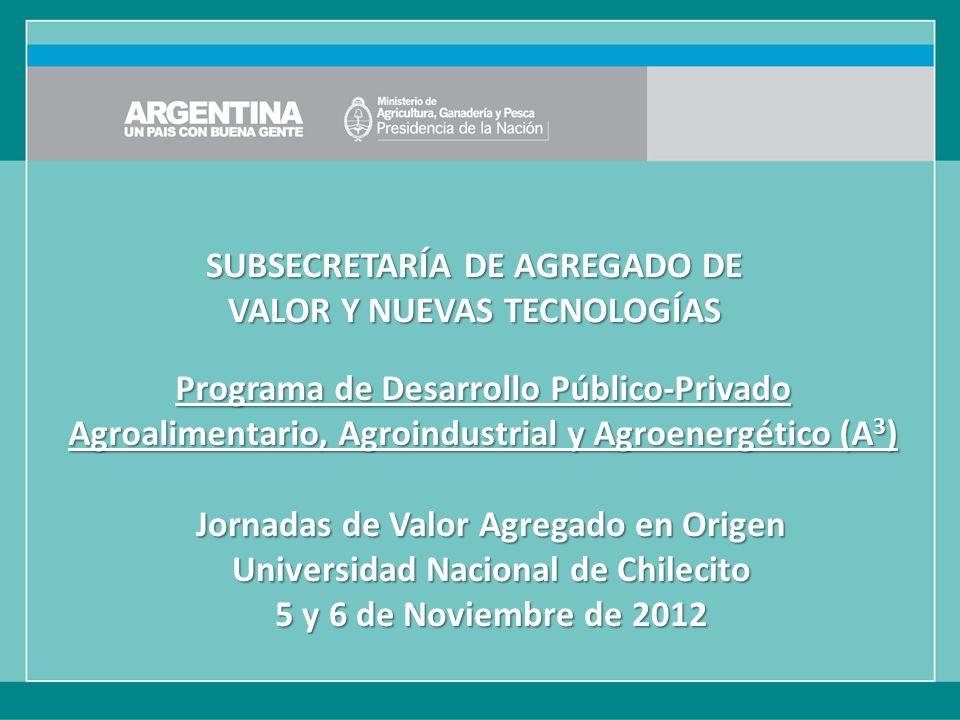 Programa de Desarrollo Público-Privado Agroalimentario, Agroindustrial y Agroenergético (A 3 ) SUBSECRETARÍA DE AGREGADO DE VALOR Y NUEVAS TECNOLOGÍAS