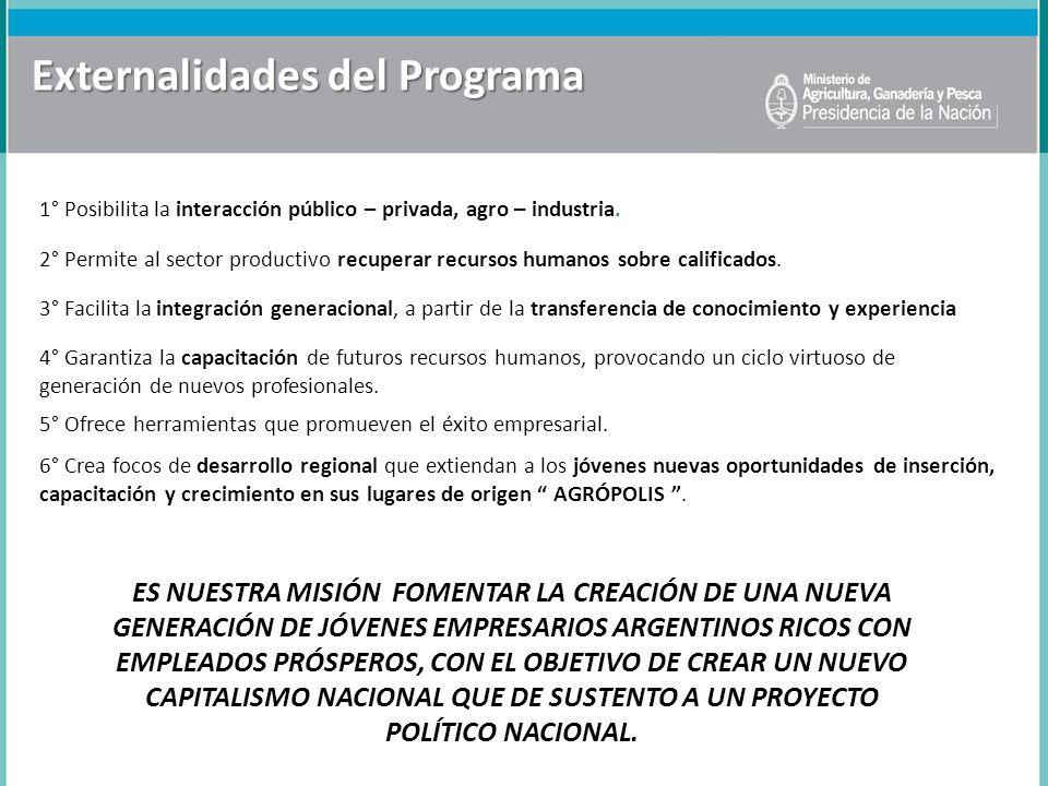 Externalidades del Programa 1° Posibilita la interacción público – privada, agro – industria. 3° Facilita la integración generacional, a partir de la