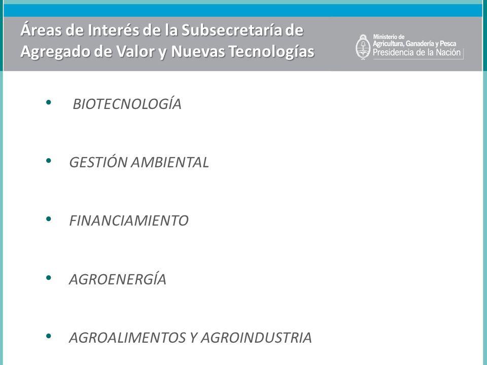 Áreas de Interés de la Subsecretaría de Agregado de Valor y Nuevas Tecnologías BIOTECNOLOGÍA GESTIÓN AMBIENTAL FINANCIAMIENTO AGROENERGÍA AGROALIMENTO