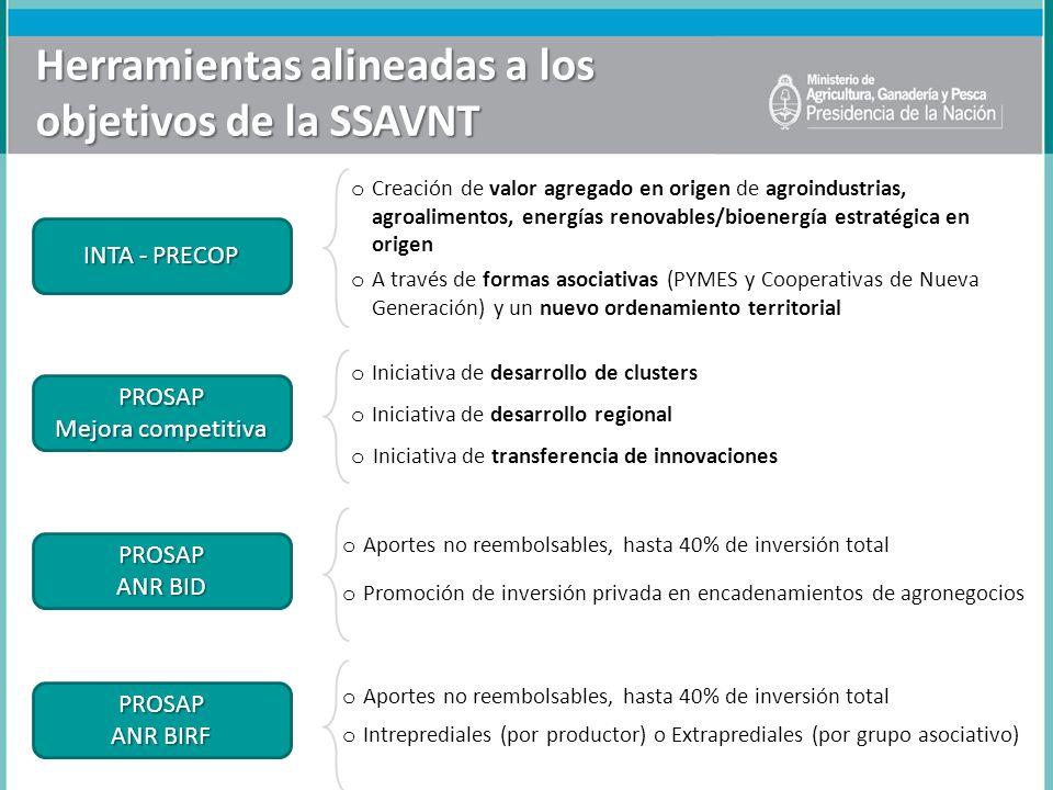 Herramientas alineadas a los objetivos de la SSAVNT o Creación de valor agregado en origen de agroindustrias, agroalimentos, energías renovables/bioen