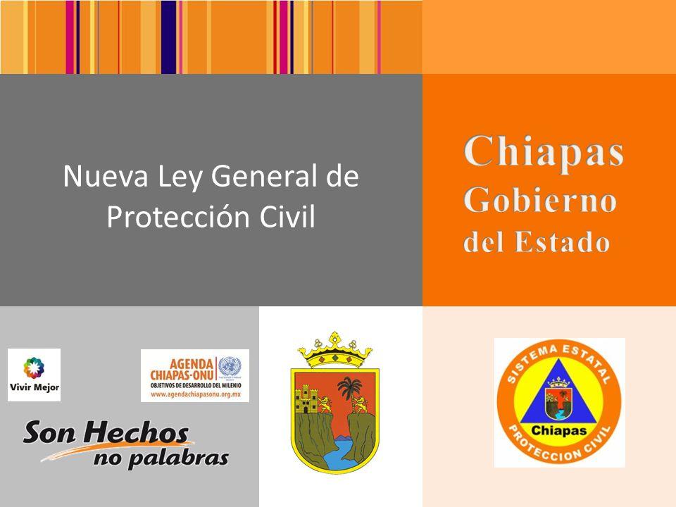 1 Ley General de Protección Civil En el Diario Oficial de la Federación el 6 de junio del 2012 se publica la nueva Ley General de Protección Civil, la cual consta de 18 Capítulos, 94 Artículos y 13 Transitorios.