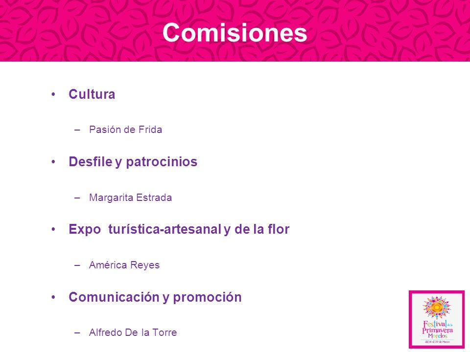 Comisiones Cultura –Pasión de Frida Desfile y patrocinios –Margarita Estrada Expo turística-artesanal y de la flor –América Reyes Comunicación y promo