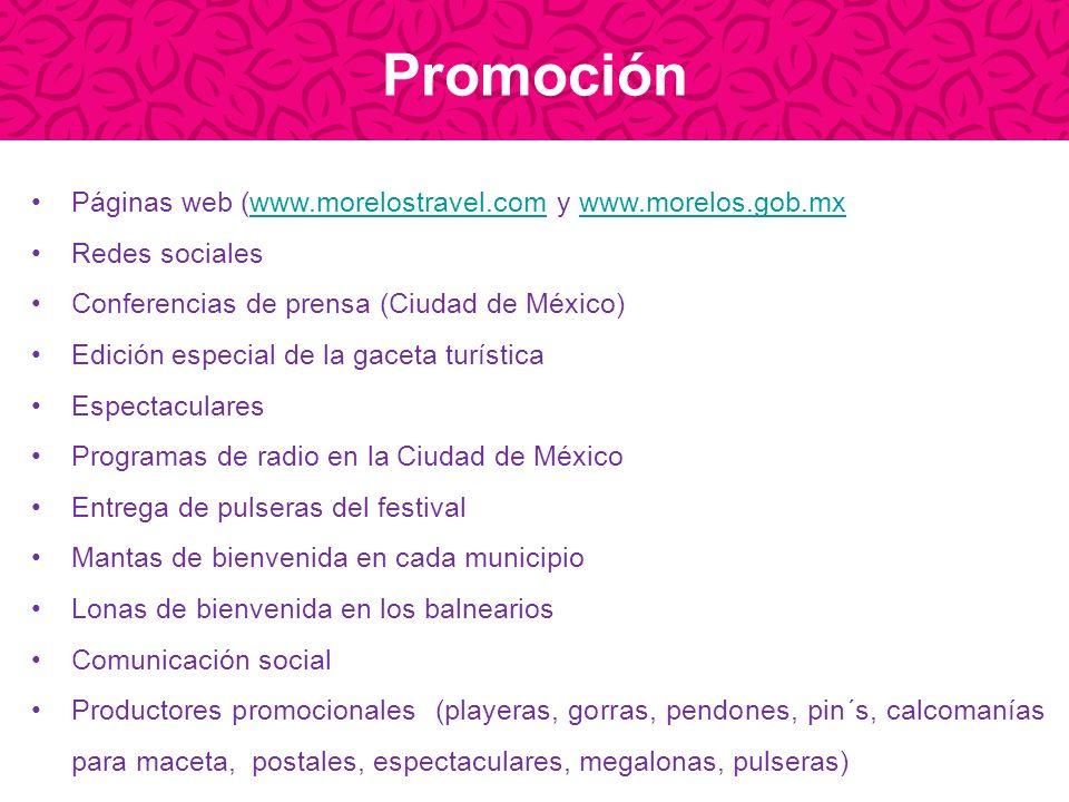 Promoción Páginas web (www.morelostravel.com y www.morelos.gob.mxwww.morelostravel.comwww.morelos.gob.mx Redes sociales Conferencias de prensa (Ciudad