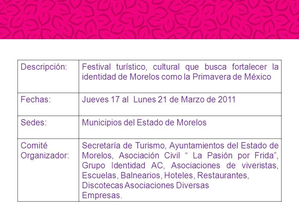 Descripción:Festival turístico, cultural que busca fortalecer la identidad de Morelos como la Primavera de México Fechas:Jueves 17 al Lunes 21 de Marz