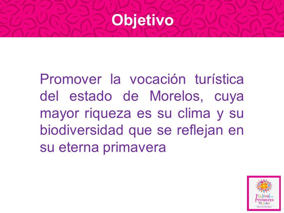 Promover la vocación turística del estado de Morelos, cuya mayor riqueza es su clima y su biodiversidad que se reflejan en su eterna primavera Objetiv