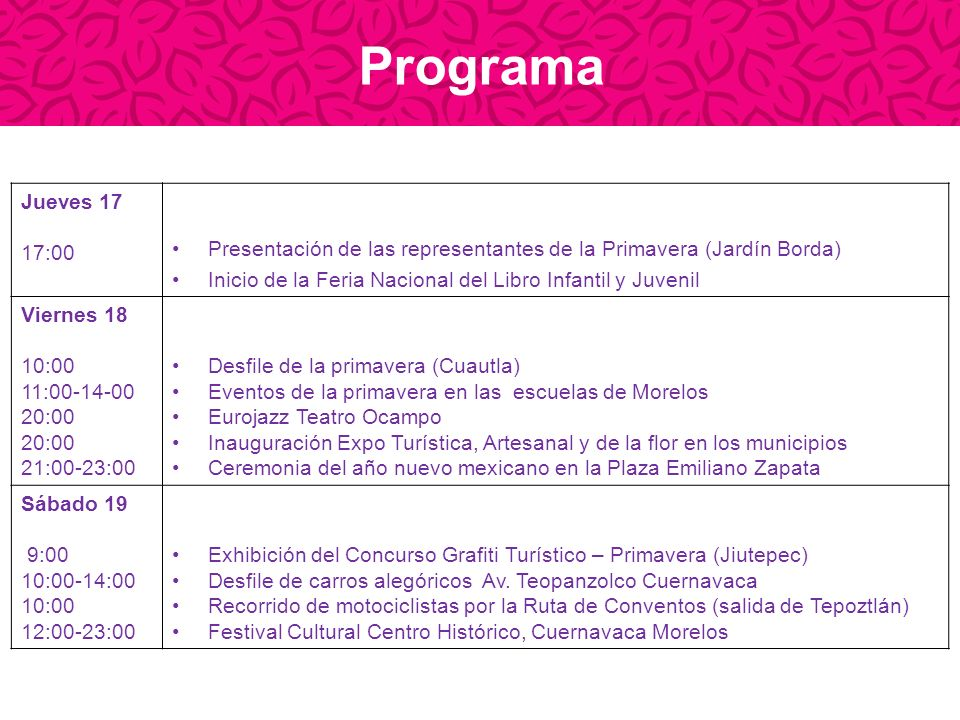 Programa Domingo 20 10:00 12:00 17:00 19:30 20:00 Desfile de Carros alegóricos Av.