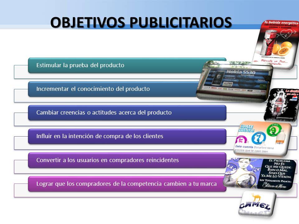 OBJETIVOS PUBLICITARIOS Estimular la prueba del productoIncrementar el conocimiento del productoCambiar creencias o actitudes acerca del producto Infl
