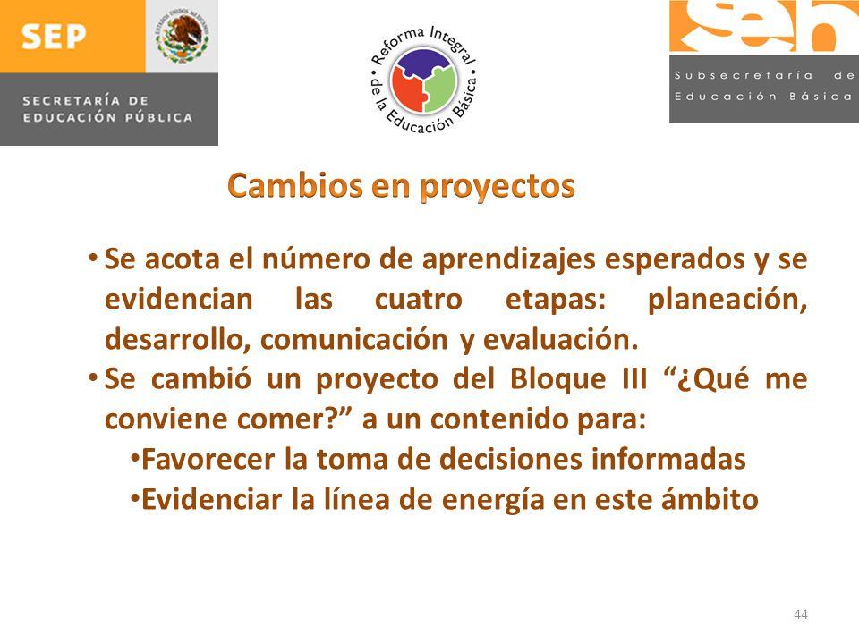 44 Se acota el número de aprendizajes esperados y se evidencian las cuatro etapas: planeación, desarrollo, comunicación y evaluación.
