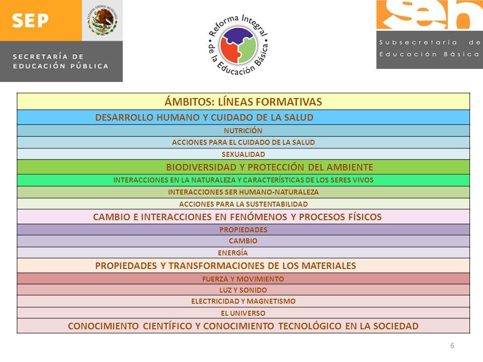 6 ÁMBITOS: LÍNEAS FORMATIVAS DESARROLLO HUMANO Y CUIDADO DE LA SALUD NUTRICIÓN ACCIONES PARA EL CUIDADO DE LA SALUD SEXUALIDAD BIODIVERSIDAD Y PROTECCIÓN DEL AMBIENTE INTERACCIONES EN LA NATURALEZA Y CARACTERÍSTICAS DE LOS SERES VIVOS INTERACCIONES SER HUMANO-NATURALEZA ACCIONES PARA LA SUSTENTABILIDAD CAMBIO E INTERACCIONES EN FENÓMENOS Y PROCESOS FÍSICOS PROPIEDADES CAMBIO ENERGÍA PROPIEDADES Y TRANSFORMACIONES DE LOS MATERIALES FUERZA Y MOVIMIENTO LUZ Y SONIDO ELECTRICIDAD Y MAGNETISMO EL UNIVERSO CONOCIMIENTO CIENTÍFICO Y CONOCIMIENTO TECNOLÓGICO EN LA SOCIEDAD