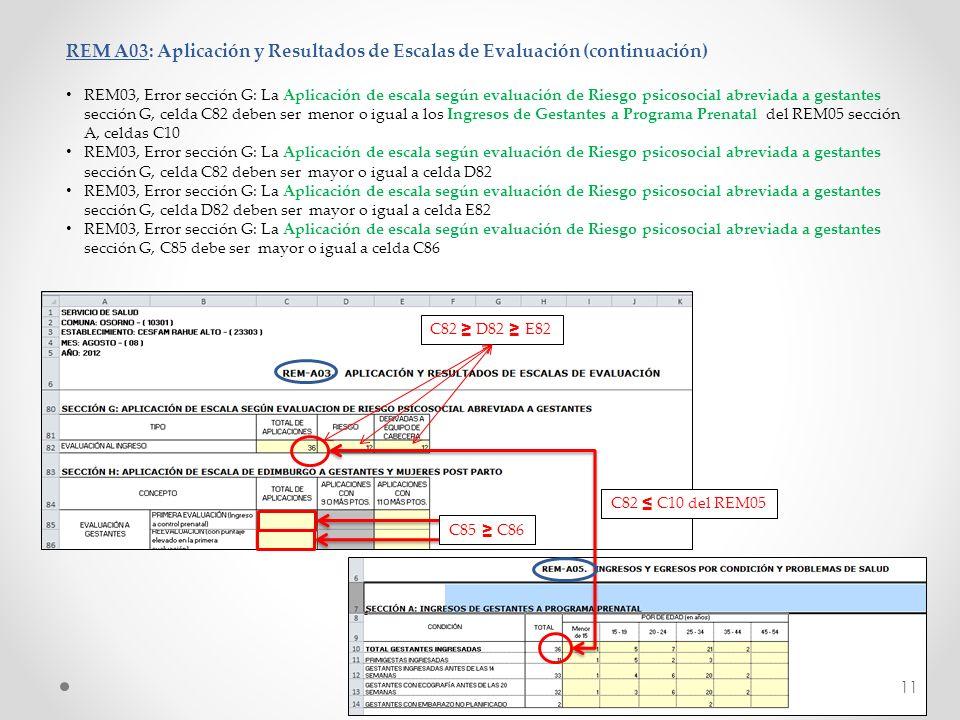 REM A03: Aplicación y Resultados de Escalas de Evaluación (continuación) REM03, Error sección G: La Aplicación de escala según evaluación de Riesgo ps