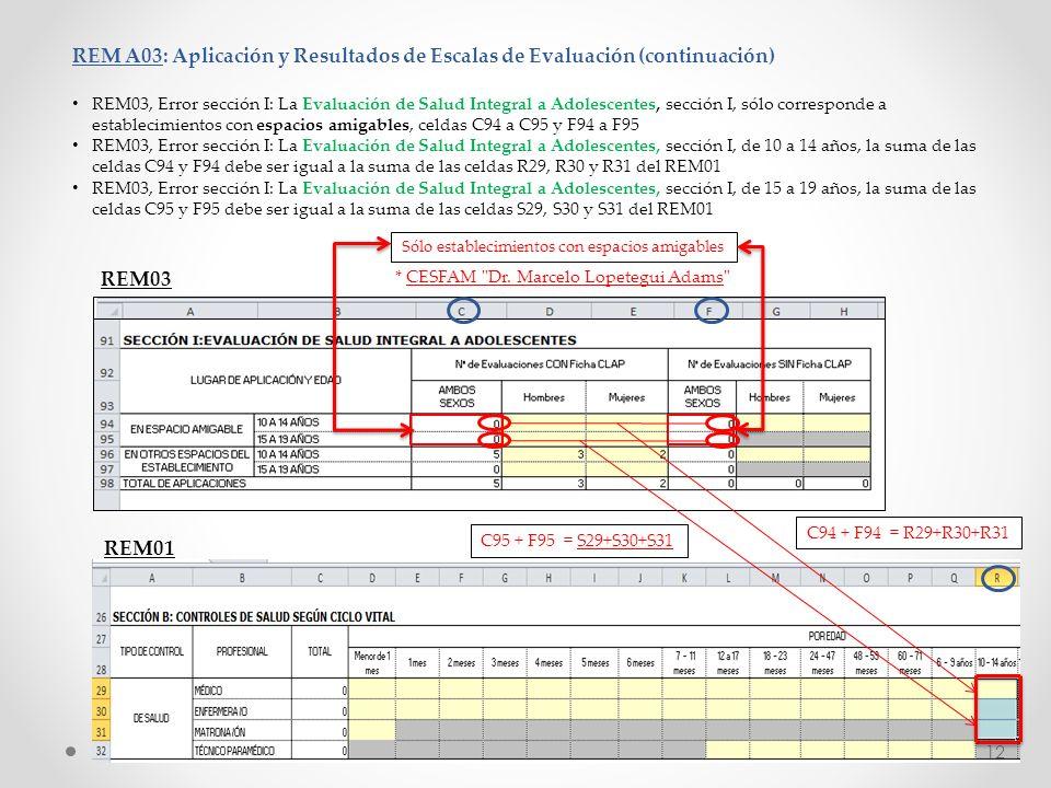 REM A03: Aplicación y Resultados de Escalas de Evaluación (continuación) REM03, Error sección I: La Evaluación de Salud Integral a Adolescentes, secci
