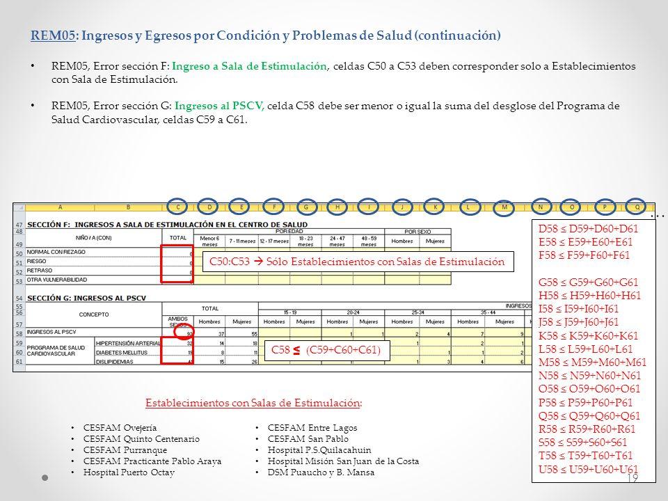 REM05: Ingresos y Egresos por Condición y Problemas de Salud (continuación) REM05, Error sección F: Ingreso a Sala de Estimulación, celdas C50 a C53 d