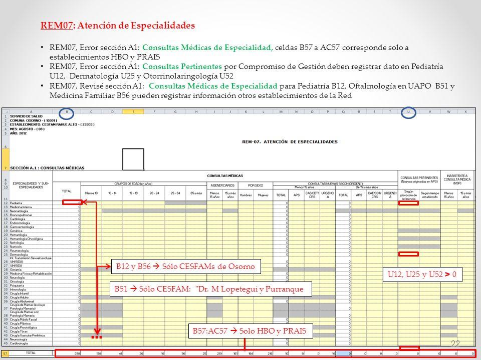 REM07: Atención de Especialidades REM07, Error sección A1: Consultas Médicas de Especialidad, celdas B57 a AC57 corresponde solo a establecimientos HB