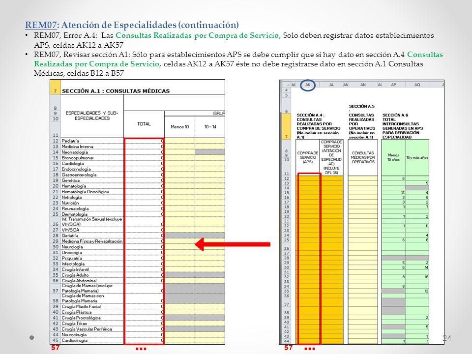 REM07: Atención de Especialidades (continuación) REM07, Error A.4: Las Consultas Realizadas por Compra de Servicio, Solo deben registrar datos estable