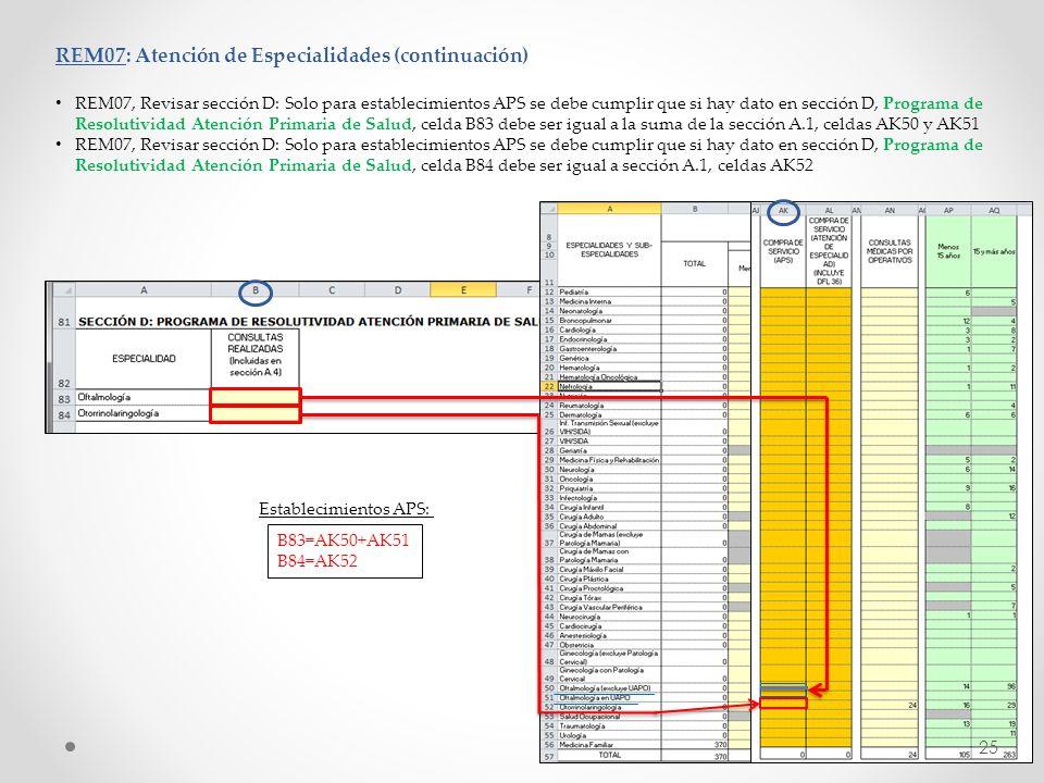 REM07: Atención de Especialidades (continuación) REM07, Revisar sección D: Solo para establecimientos APS se debe cumplir que si hay dato en sección D