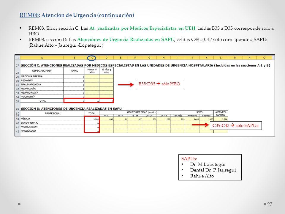 REM08: Atención de Urgencia (continuación) REM08, Error sección C: Las At. realizadas por Médicos Especialistas en UEH, celdas B35 a D35 corresponde s